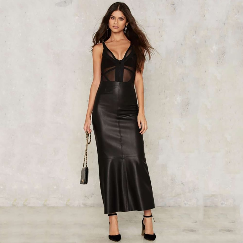 Tight-fitting Hip Slim Faux Leather Mermaid Skirt