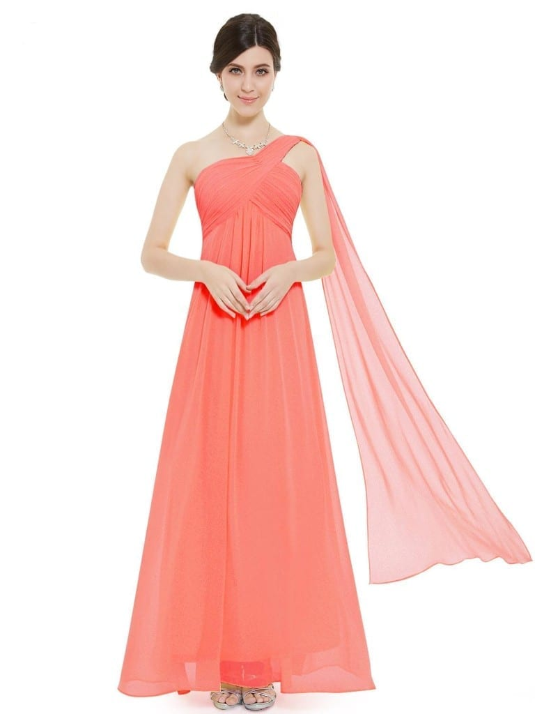 A-line One Shoulder Coral Ruffles Padded Long Bridesmaid Dress
