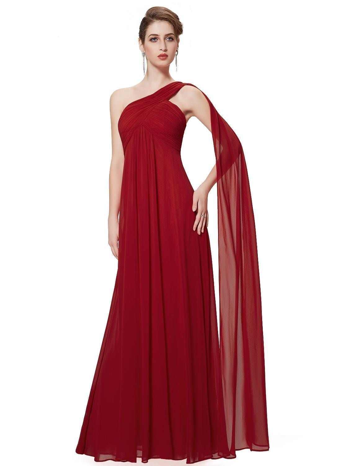 A-line-one-shoulder-red-ruffles-padded-long-bridesmaid-dress