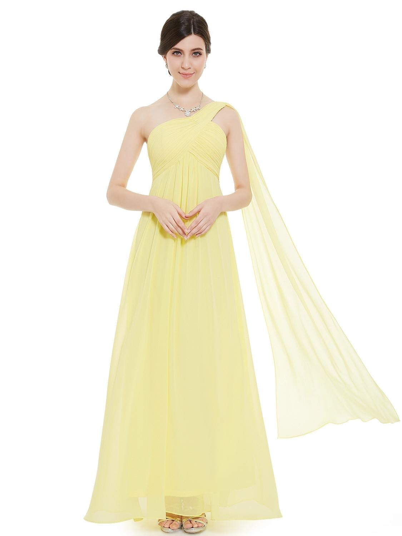 A-line-one-shoulder-yellow-ruffles-long-bridesmaid-dress