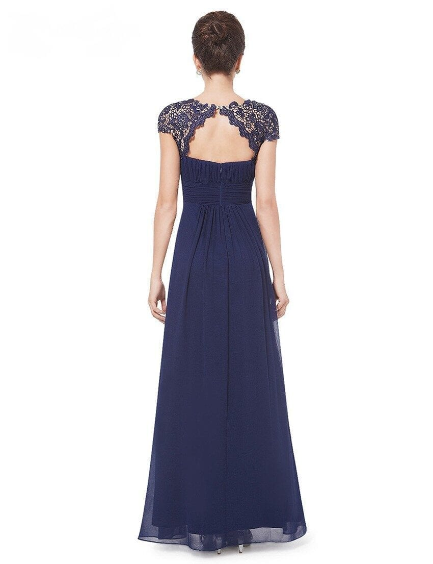 Lace Neckline Open Back Ruched Bust Bridesmaid Dress