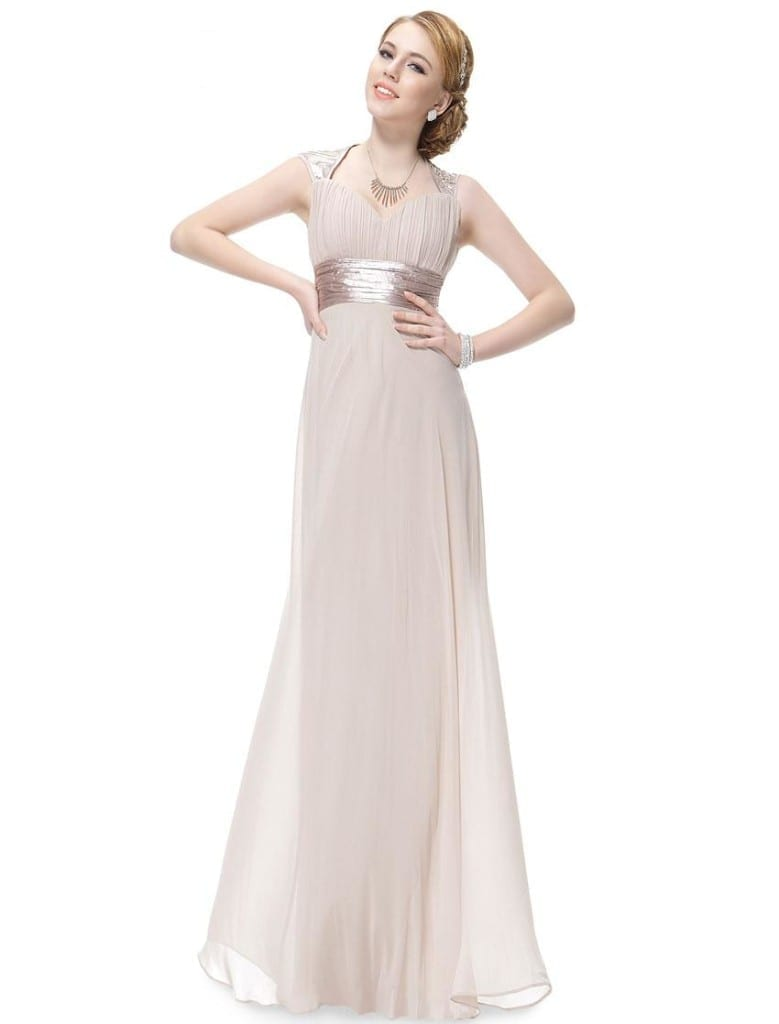Trailing Sequins Toasted Almond Empire Waist Ruching NWT Prom Dress