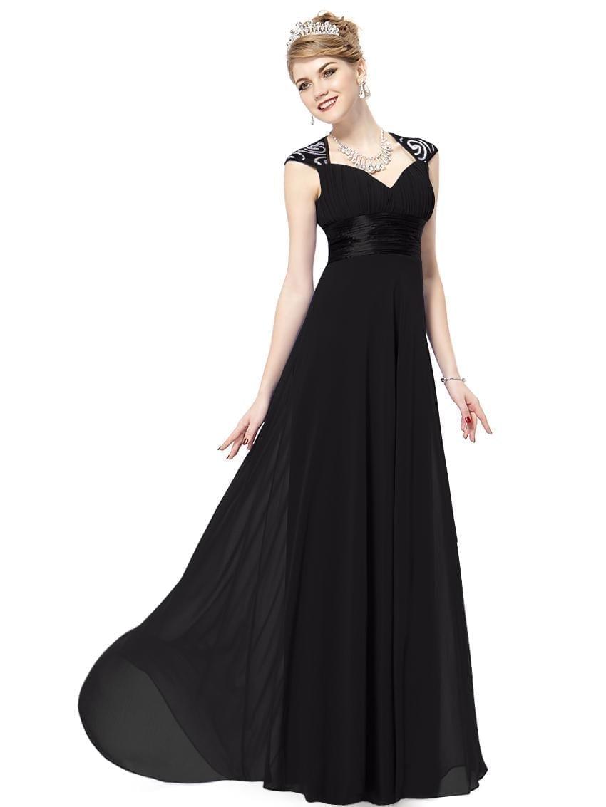 V-neck-black-sequins-chiffon-ruffles-empire-line-evening-dress