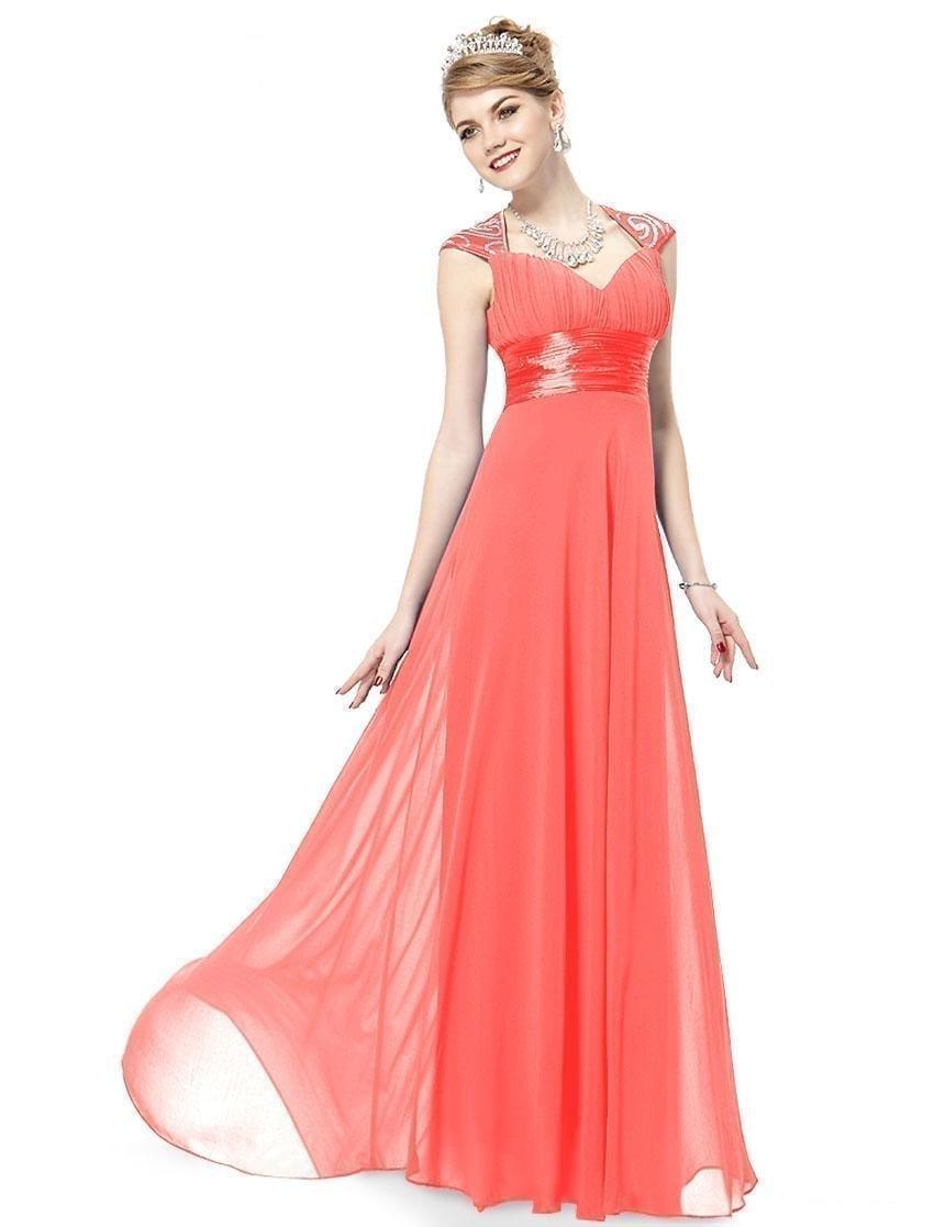 V-neck-coral-sequins-chiffon-ruffles-empire-line-evening-dress