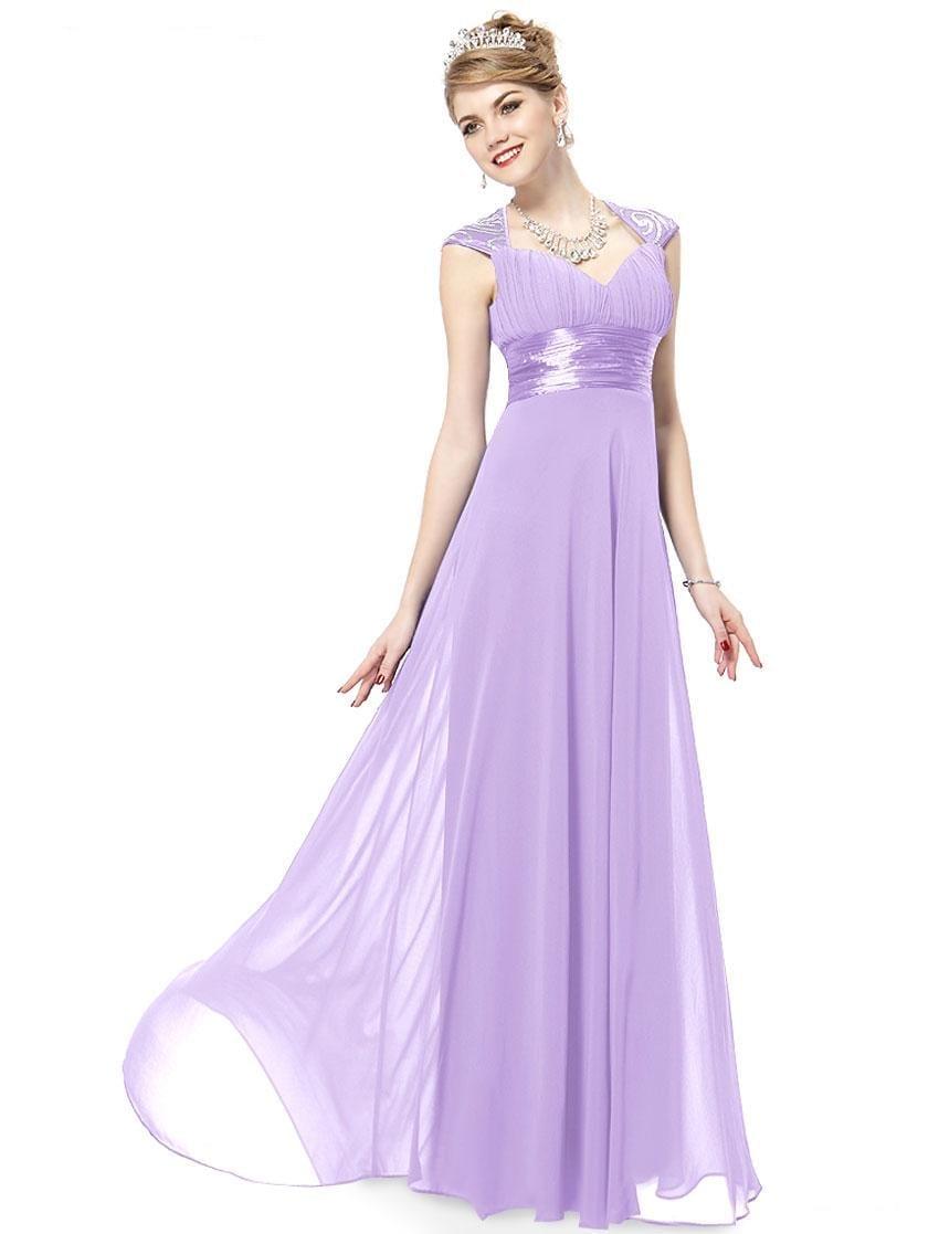 V-neck-light-purple-sequins-chiffon-ruffles-empire-line-evening-dress