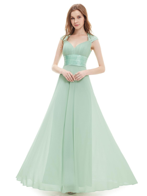 V-neck-mint-green-sequins-chiffon-ruffles-empire-line-evening-dress
