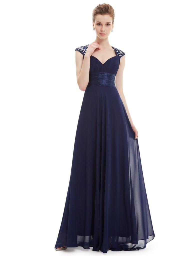 V-neck Navy Blue Sequins Chiffon Ruffles Empire Line Evening Dress
