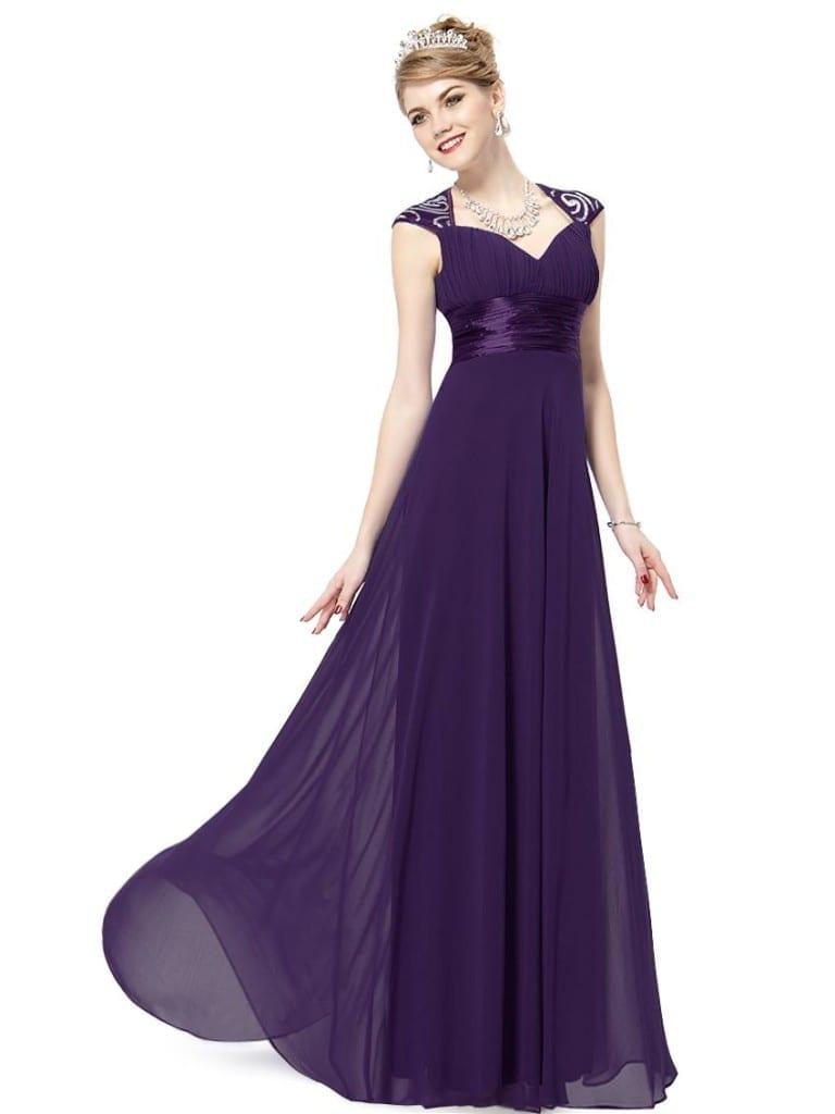 V-neck Purple Sequins Chiffon Ruffles Empire Line Evening Dress