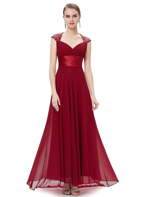 V-neck-red-sequins-chiffon-ruffles-empire-line-evening-dress