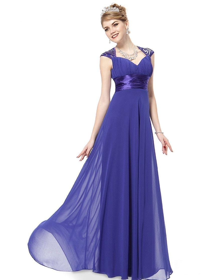 V-neck-sapphire-blue-sequins-chiffon-ruffles-empire-line-evening-dress