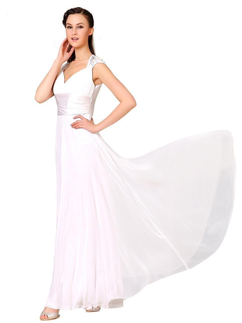 V-neck-white-sequins-chiffon-ruffles-empire-line-evening-dress