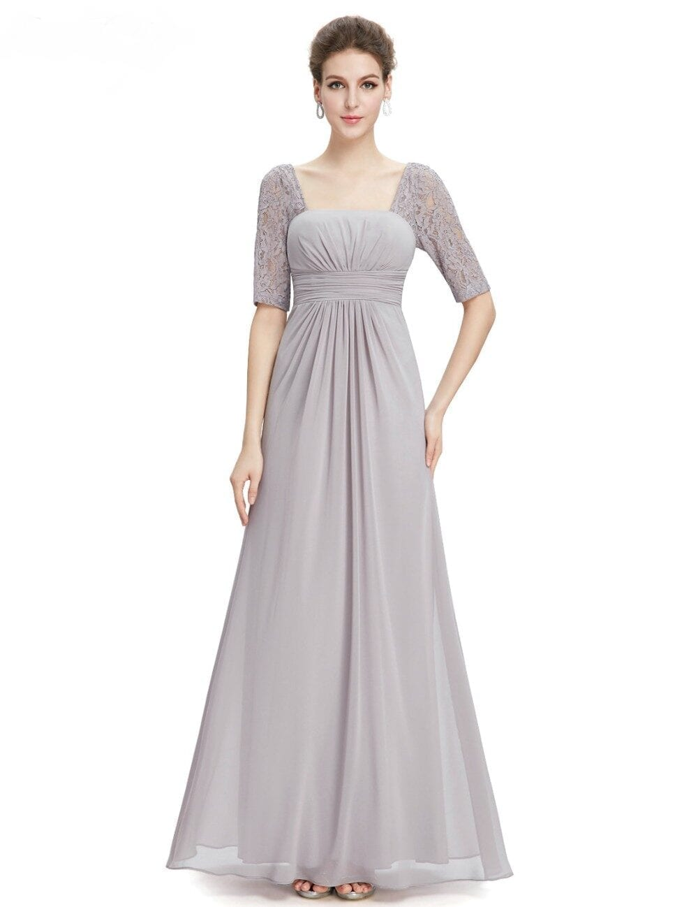 Beauty Lace Square Neckline Long Prom Evening Dress