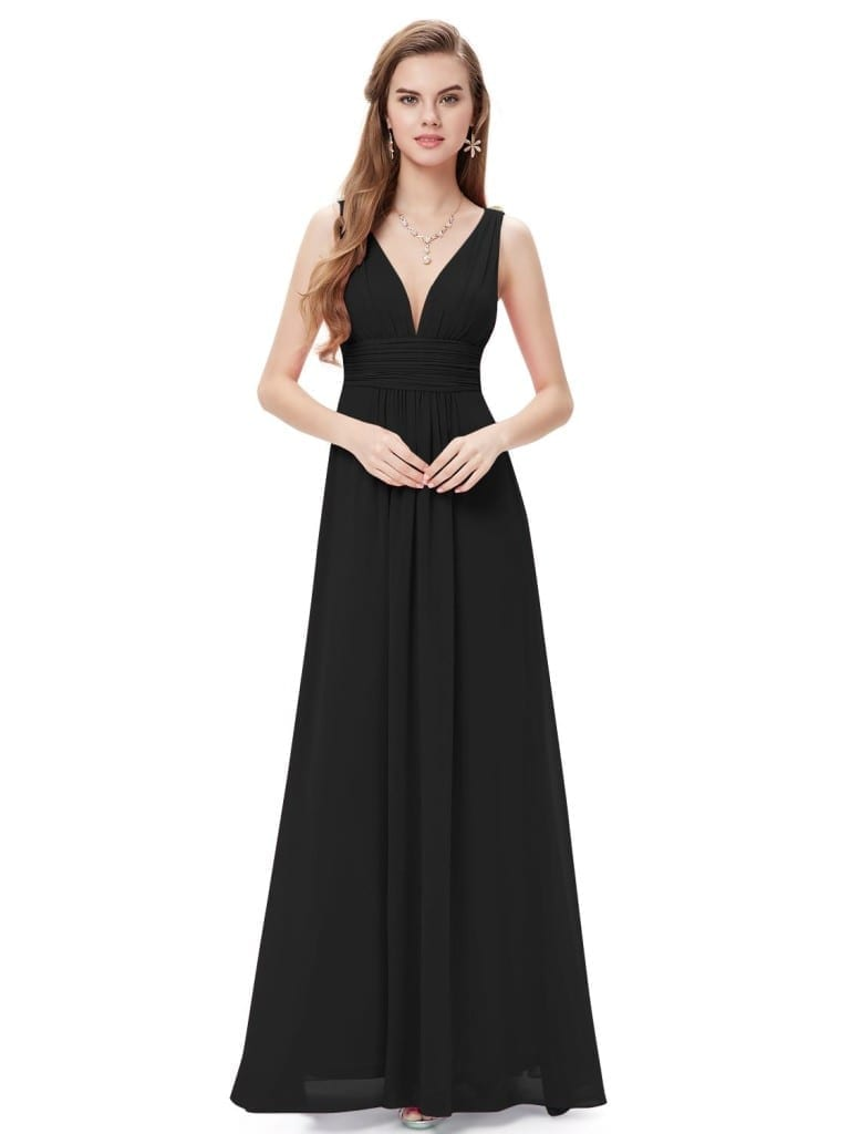 Black Double V Elegant Evening Dress
