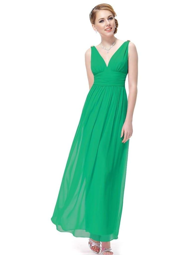 Emerald Green Double V Elegant Evening Dress