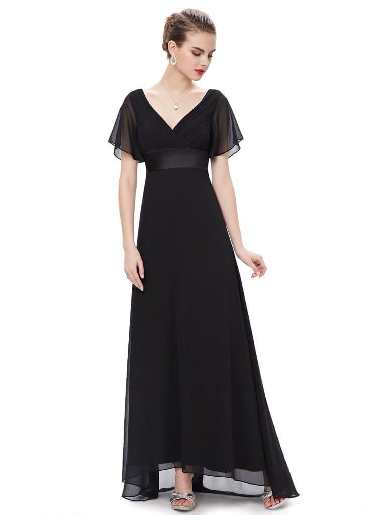 Glamorous Black Double V-Neck Ruffles Padded Evening Dress