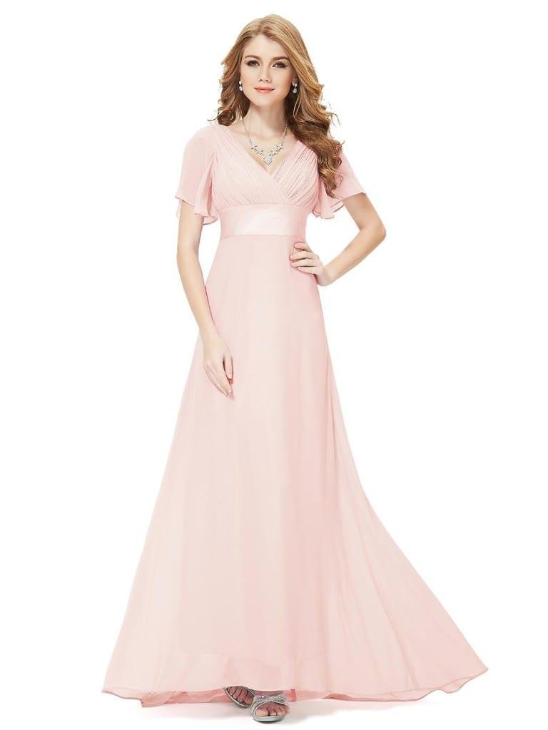 Glamorous Pink Double V-Neck Ruffles Padded Evening Dress
