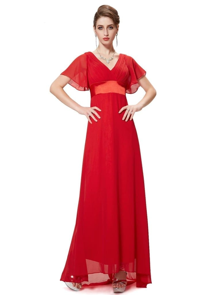 Glamorous Vermilion Double V-Neck Ruffles Padded Evening Dress
