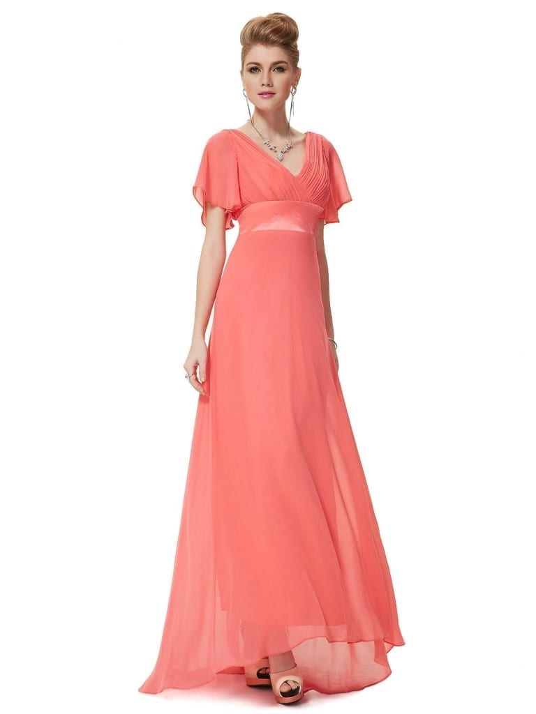 Glamorous Watermelon Red Double V-Neck Ruffles Padded Evening Dress