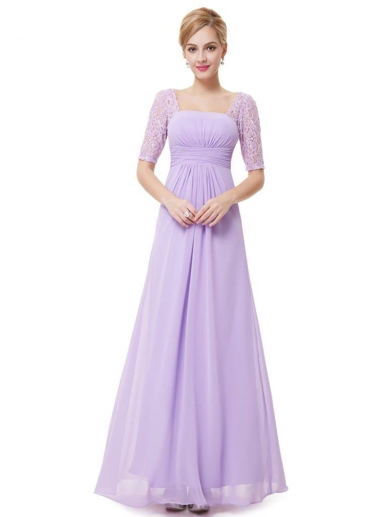 Sexy Fashion Lilac Purple Lace Square Neckline Long Prom Evening Dress