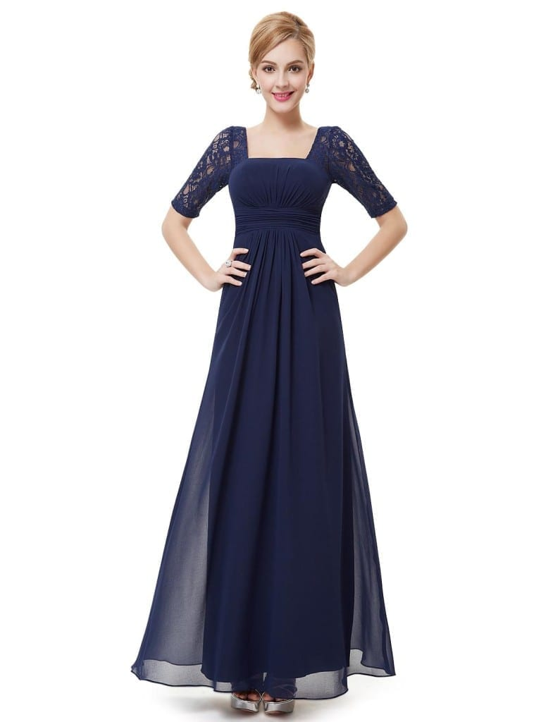 Sexy Fashion Navy Blue Lace Square Neckline Long Prom Evening Dress