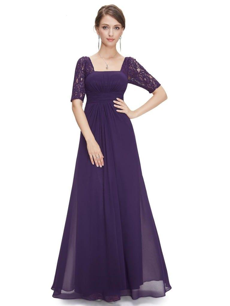 Sexy Fashion Purple Lace Square Neckline Long Prom Evening Dress