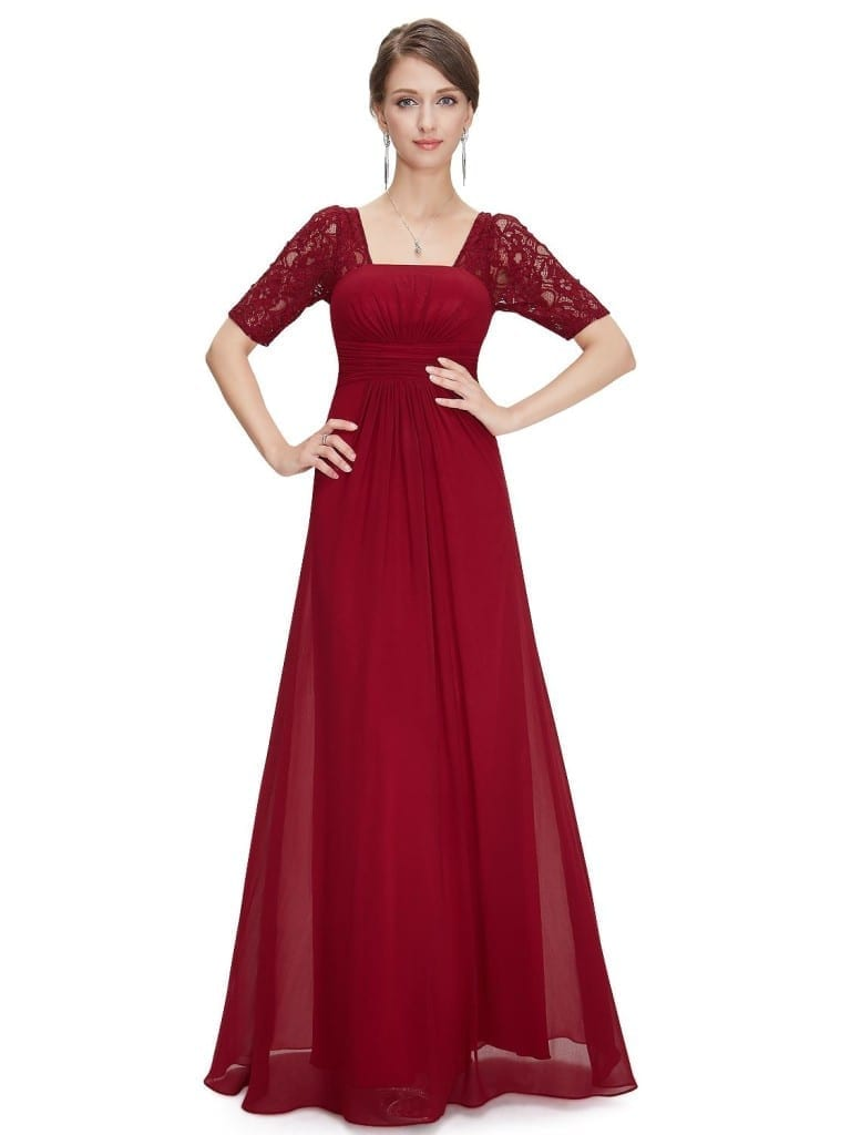 Sexy Fashion Red Lace Square Neckline Long Prom Evening Dress