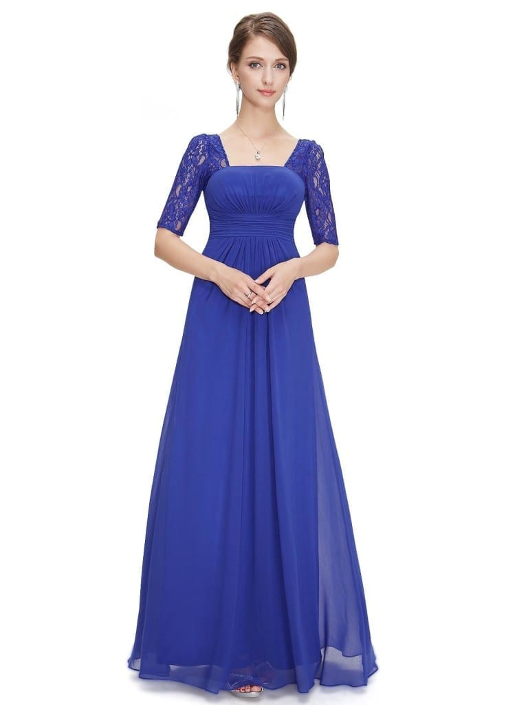 Sexy Fashion Sapphire Blue Lace Square Neckline Long Prom Evening Dress