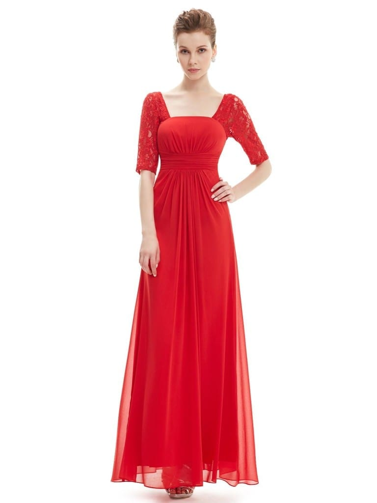 Sexy Fashion Vermilion Lace Square Neckline Long Prom Evening Dress