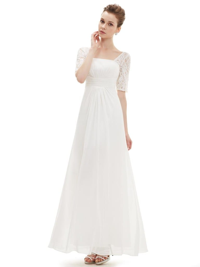 Sexy Fashion White Lace Square Neckline Long Prom Evening Dress
