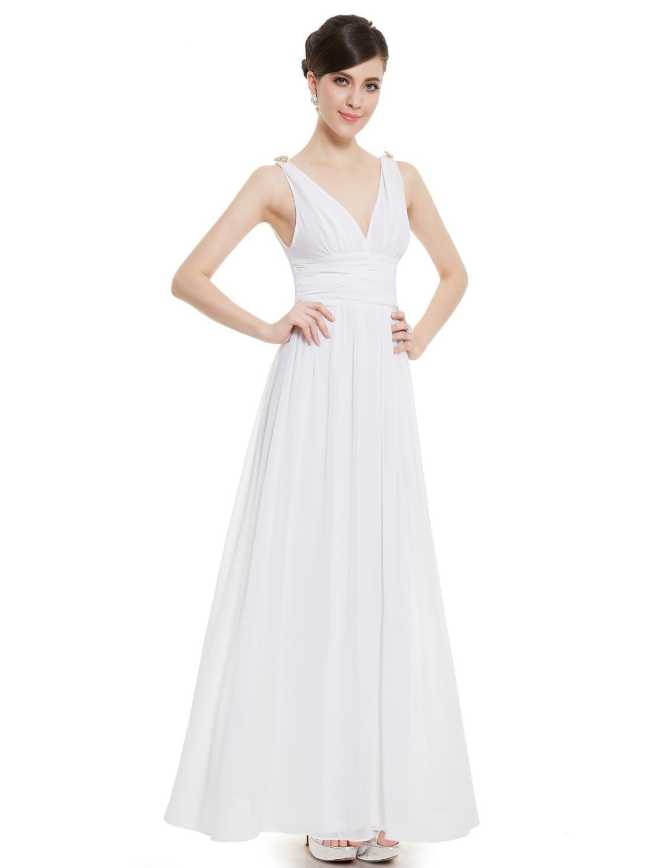 White-double-v-elegant-evening-dress