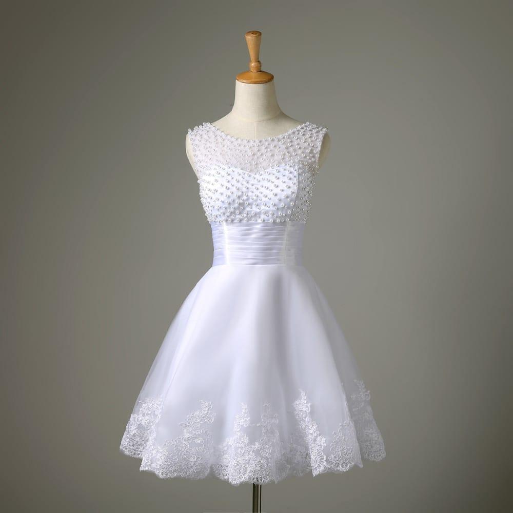 A-line Lace Pearl Short Wedding Dress