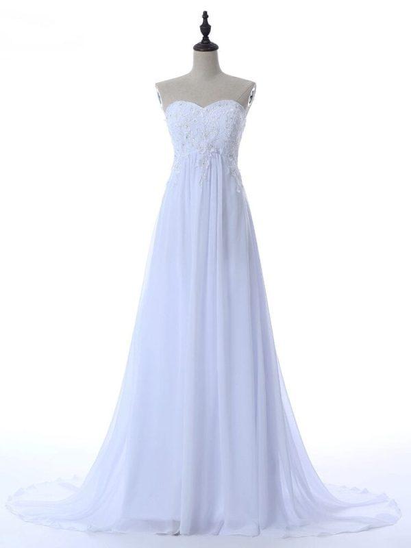 Embroidery Beading Sequins Empire Sweetheart Long Beach Wedding Dress