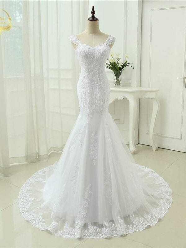 Tulle With Applique Beading Detachable Straps Long Wedding Dress