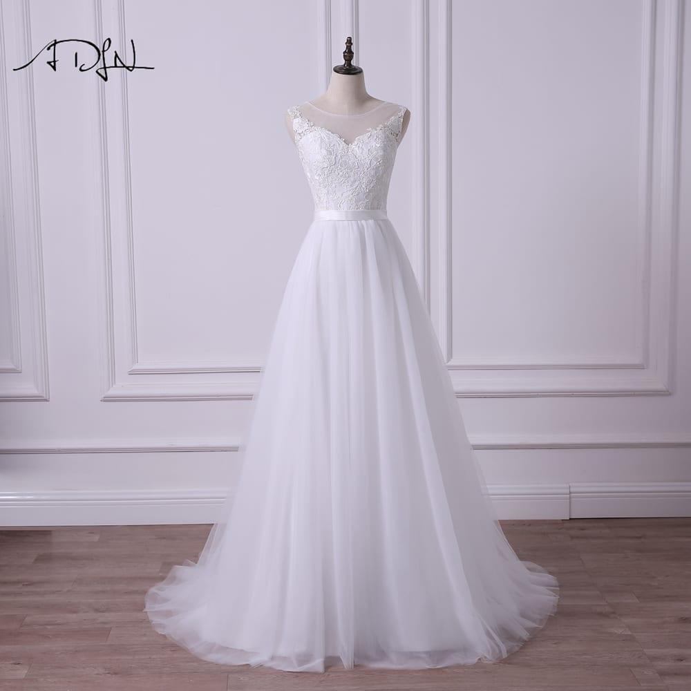 Elegant Sleeveless A-line Tulle Wedding Dress