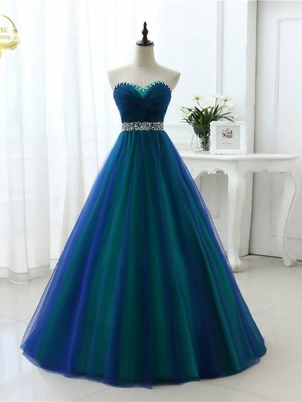 A-line Long Sweetheart Tulle Beading Prom Dress