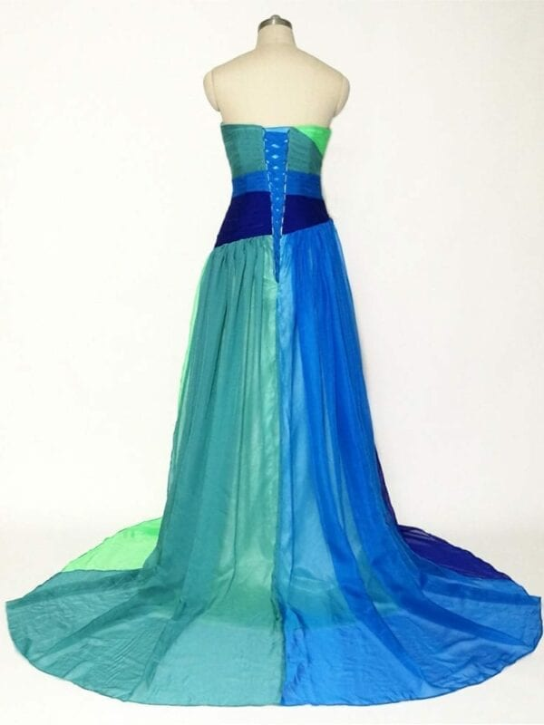Colorful Floor Length Chiffon Sweetheart Long Evening Dress