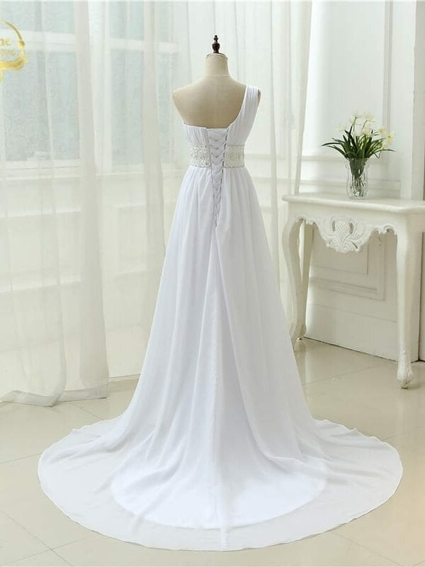 Open Back White Long With Trian Lace One Shoulder Wedding Dress
