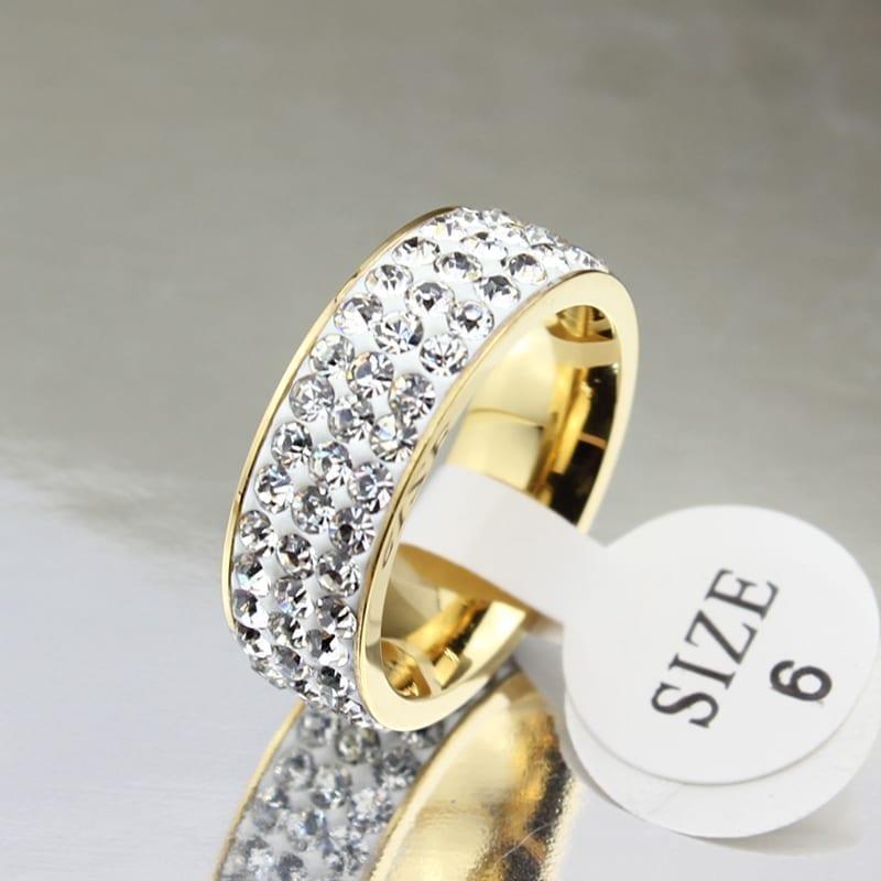 18k Gold Plated Stainless Steel Wedding Rings For Women