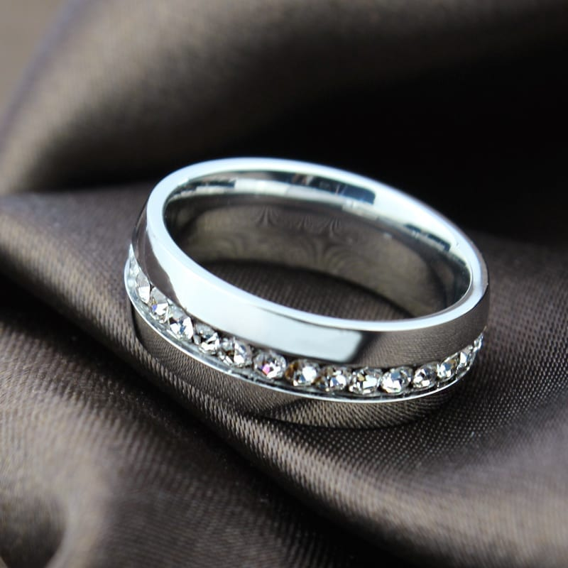 18k Gold Plated Crystal Wedding Ring For Women