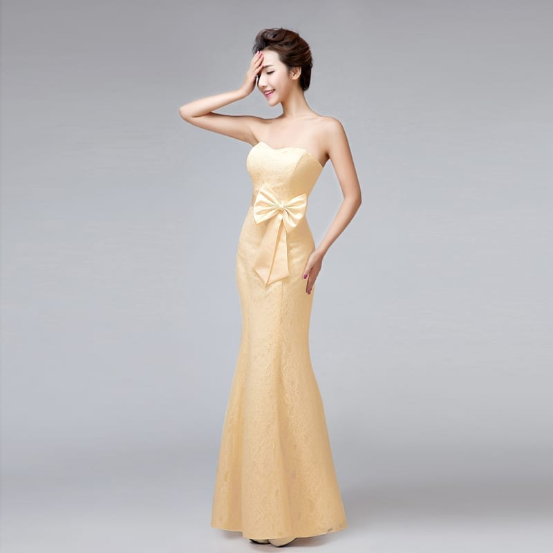 Sweetheart Strapless Mermaid Long Lace Bridesmaid Dress With Bow