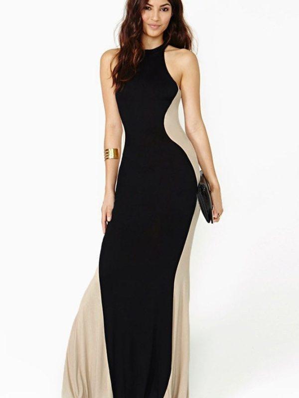 Swerve Halter Two-tone Evening Dress