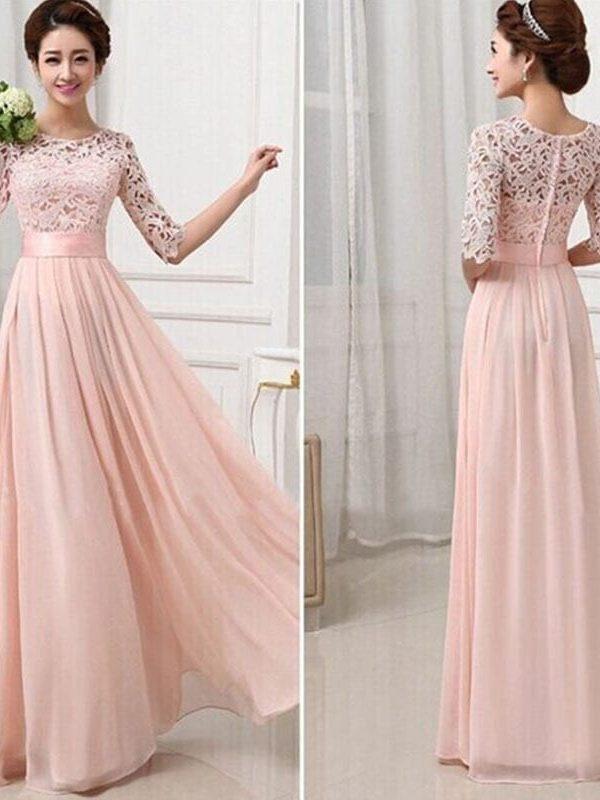 Elegant Lace Sleeve Chiffon Womens Long Formal Dress