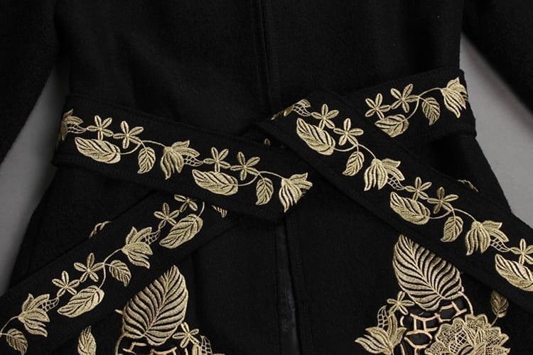 Gold Flower Embroidery Long-sleeve Covered Button Sashes Wool Slim Coat