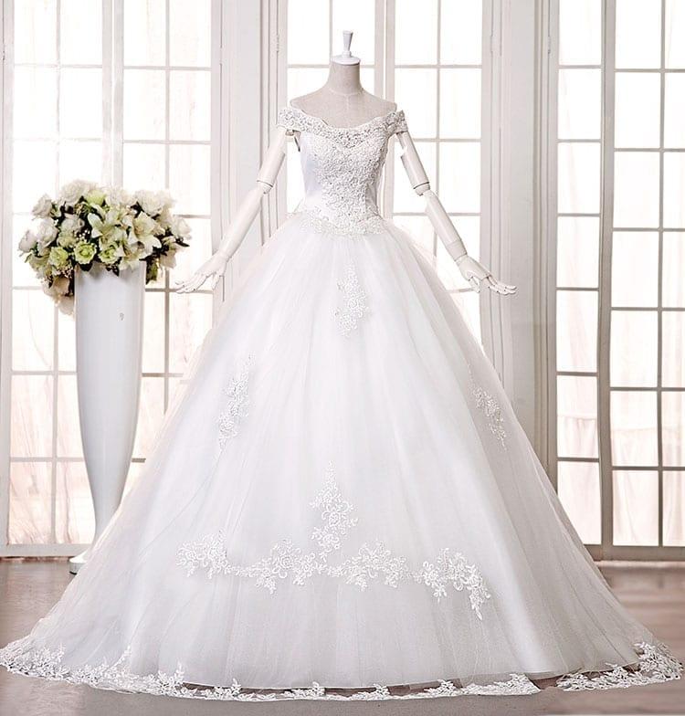 Slit Neckline Long Trailing Wedding Dress
