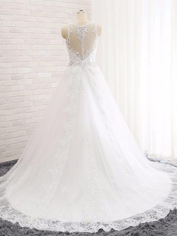 A-line Sheer Sweetheart Appliqued Lace Beaded Belt Backless Wedding Dress