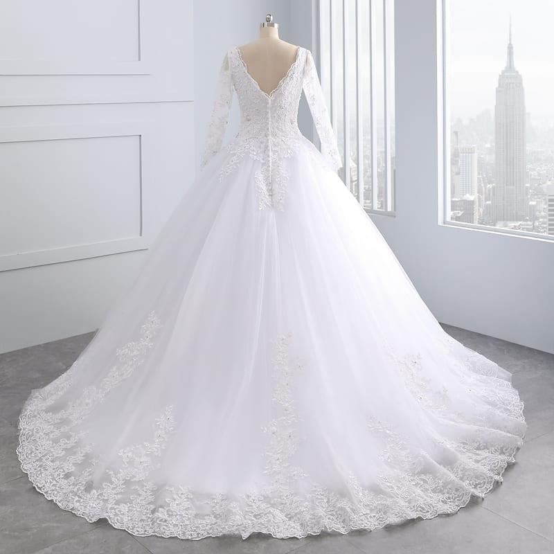 Luxury Vintage Long Sleeves Lace Wedding Dress