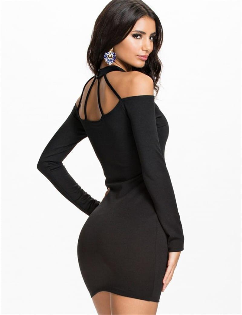 Full Sleeve Above Knee Length Black Sexy Dress