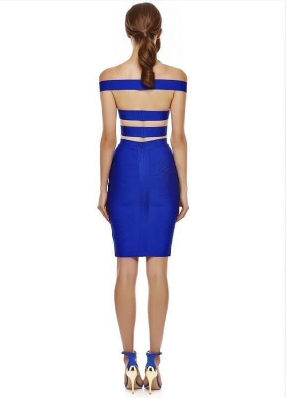 2 Piece Set Sexy Cut Out Club Blue Bodycon Bandage Dress