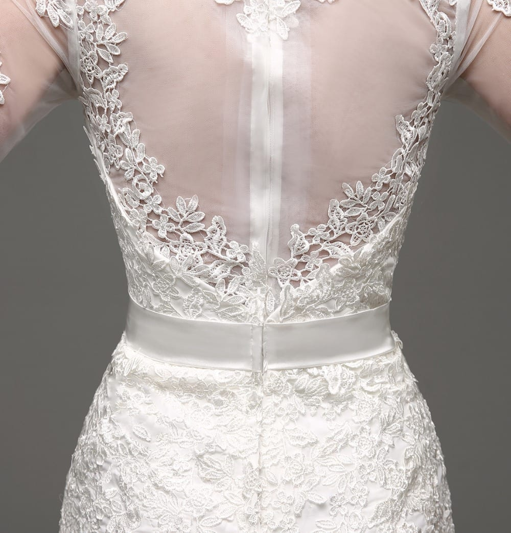 Long Sleeve Sheath Lace Appliqued Bridal Dress