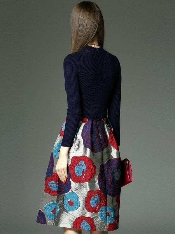 Long Sleeve Knitted Sweater Patchwork Dress